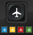 airplane icon symbol Set of five colorful stylish vector image vector image
