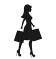 Black Icon Shopping Woman Silhouette with Bags vector image vector image
