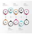 business icons line style set with increasing vector image vector image