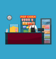 cinema bar counter with snack popcorn and drinks vector image vector image