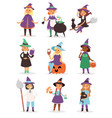 cute little halloween witch girl harridan broom vector image