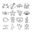 Diving icons set with fish and equipment vector image vector image
