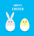 easter rabbit and chicken vector image vector image