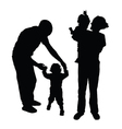 family with baby silhouette vector image