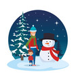 father and son in snowscape vector image vector image