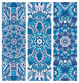 festive blue ornamental tribal banner set vector image