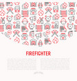 firefighter concept with thin line icons vector image vector image