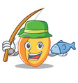 fishing apricot mascot cartoon style vector image vector image