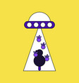 flat icon design collection flying saucer and tree vector image vector image