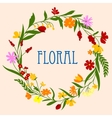 Floral wreath with flowers and herbal foliage vector image