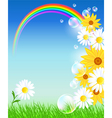 Flowers and rainbow vector image vector image