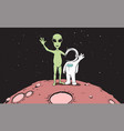 friendship astronaut and aliencolor version vector image vector image