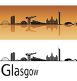 Glasgow skyline in orange background vector image vector image