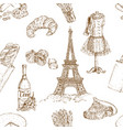 hand drawn paris pattern vector image