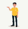 happy man points out something presentation vector image vector image