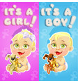 its a boy and its a girl announcement card with vector image