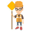 little caucasian builder boy holding road sign vector image