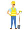man wearing uniform standing with shovel vector image vector image