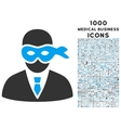 Masked Thief Icon with 1000 Medical Business Icons vector image vector image