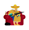 mexican grandmother with gun old woman from vector image