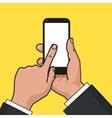 mobile phone in hand finger touches a screen vector image vector image