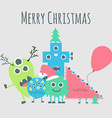 Monsters ongratulate You with Merry Christmas vector image vector image