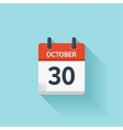 October 30 flat daily calendar icon Date vector image vector image