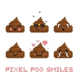 Pixel art style poo smile set vector image vector image
