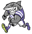 rugby shark mascot vector image vector image