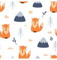 seamless pattern cute baby fox vector image