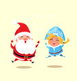 snow maiden and santa jumping vector image vector image