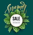 summer sale poster tropical leaf paper cut style vector image vector image