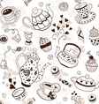teapots and cups background vector image