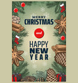 vintage colored christmas spices poster vector image vector image