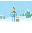 Winter landscape and man with tobogganflat design vector image