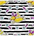 christmas striped seamless pattern cartoon dog vector image