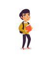 a boy with book and backpack on white background vector image vector image
