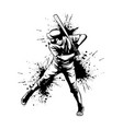 baseball player hitter swinging with bat vector image vector image