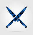 blue black tartan icon - crossed kitchen knives vector image vector image