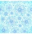 Blue colors romantic flourish seamless pattern vector image