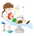 Boy having teeth checked by dentist vector image vector image