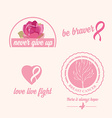 Breast cancer set of stickers Pink ribbon icon
