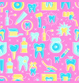 bright stomatological seamless pattern in line vector image