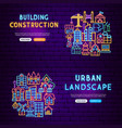 building neon banners vector image vector image