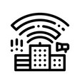 building with radiowaves thin line icon vector image