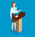business woman makes a report in front vector image
