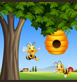 cartoon bees with honey under a tree vector image vector image