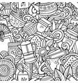cartoon cute doodles hand drawn tea house seamless vector image vector image