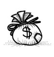 cartoon image of money bag icon money symbol vector image