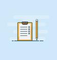 checklist with pencil flat design vector image vector image